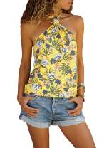 LOSRLY Women Halter Neck Floral Boho Printed Sleeveless Cami Tank Tops