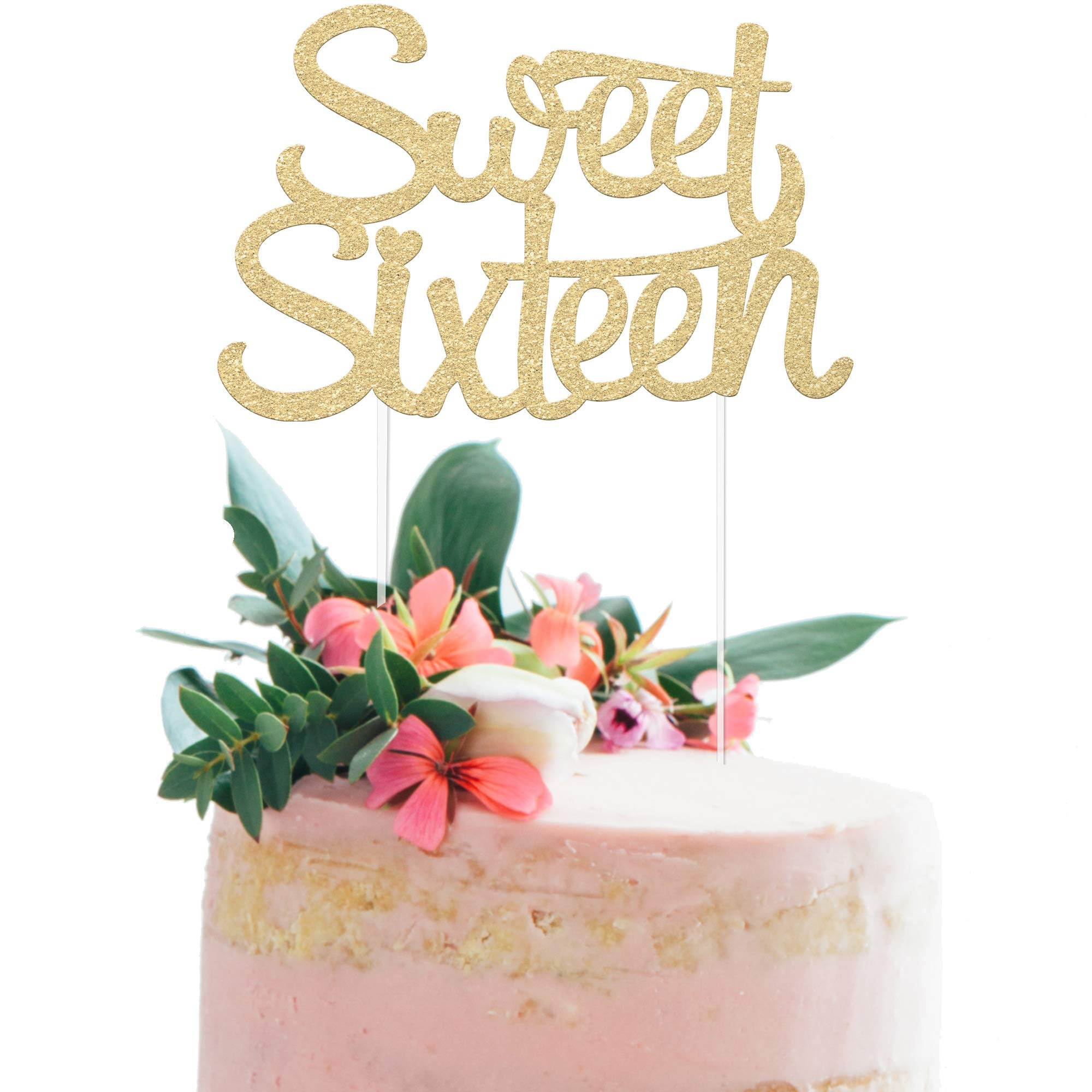 """16th Birthday Cake Topper - SWEET SIXTEEN - 7"""" x 4.5"""" Double Sided Champagne Gold Glitter Cardstock - Perfect Touch for Your BDay Decorations - Food-Safe & Eco-Friendly Stand by Merry Expressions"""