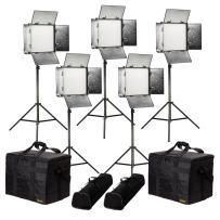 Ikan Rayden (5X) 1 x 1 Bi-Color 3200K-5600K Adjustable Studio/Field LED Lighting Kit, Barndoors, Stands and Case Included (RB10-5PT-KIT) - Black