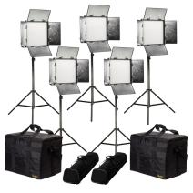 Ikan Rayden (5X) 1 x 1 Bi-Color 3200K-5600K Adjustable Studio/Field LED Lighting Kit, Barndoors, Stands and Case Included (RB10-5PT-KIT) - Black