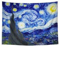 Amhokhui Tapestry The Starry Night Tapestry Wall Hanging Hippie Galaxy Tapestry Mandala Bohemian Tapestry Watercolor Oil Painting Wall Decor Wall Tapestry