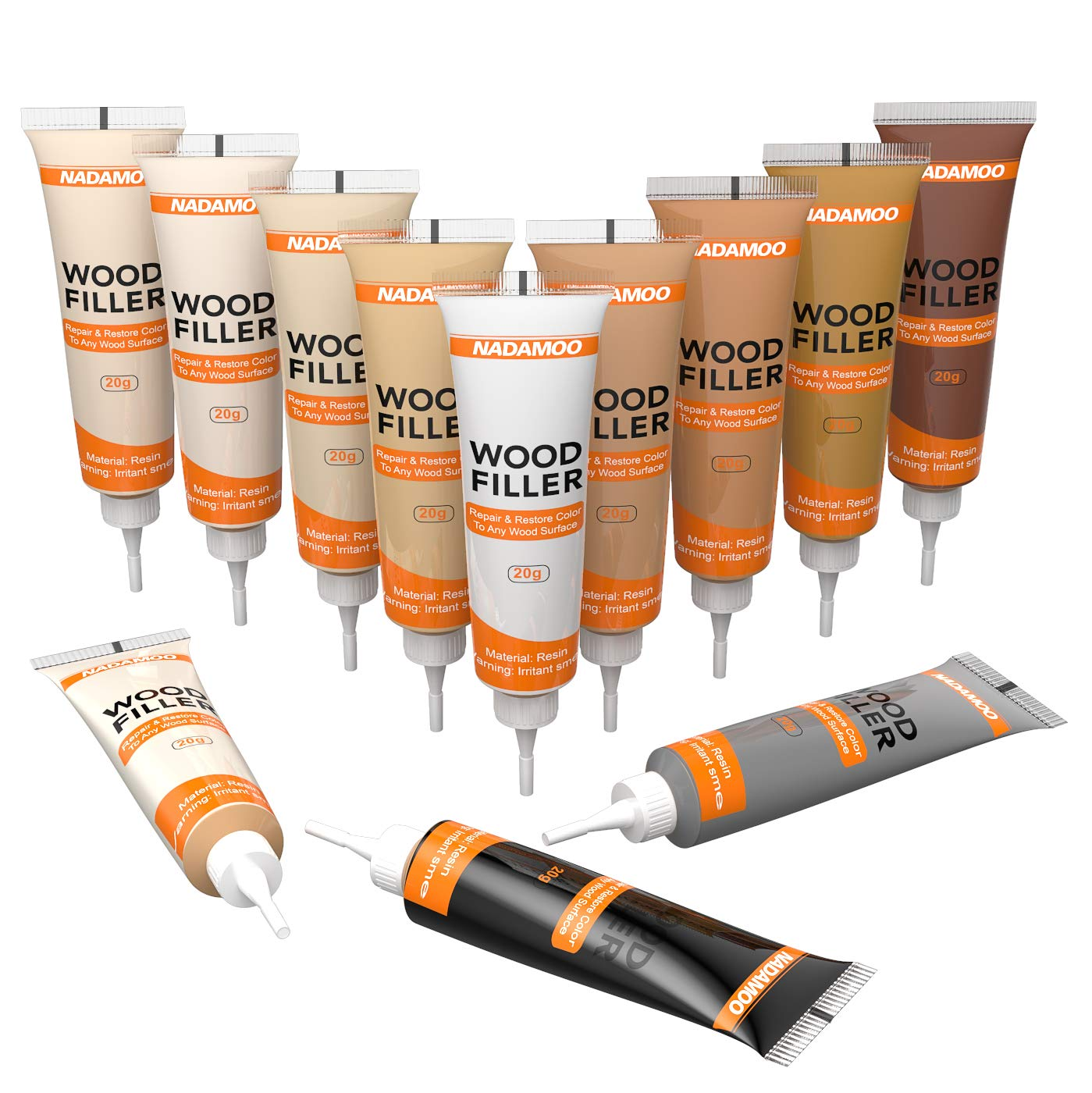NADAMOO Wood Filler Furniture Repair Kit Wood Scratch Repair Furniture Touch Up Kit Cover Surface Scratch for Wooden Floor Table Door Cabinet Veneer, 12 Light Color Kit Black White Gray Oak Maple