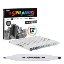 12 Color Super Markers Gray Tones Dual Tip Set - Double-Ended Permanent Art Markers with Fine Bullet and Chisel Point Tips - Ergonomic Tri-Oval Barrels - Draw, Sketch, Shade, Illustrate, Render