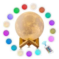 """Gahaya 16 Colors Seamless Moon Lamp, Remote & Touch Control, 3D Printed, PLA Material, USB Recharge, Diameter 5.9""""/15cm"""