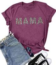 MUPAOLO Mama Shirt for Women Funny Casual Graphic Tees Summer Short Sleeve Mom Life T Shirt