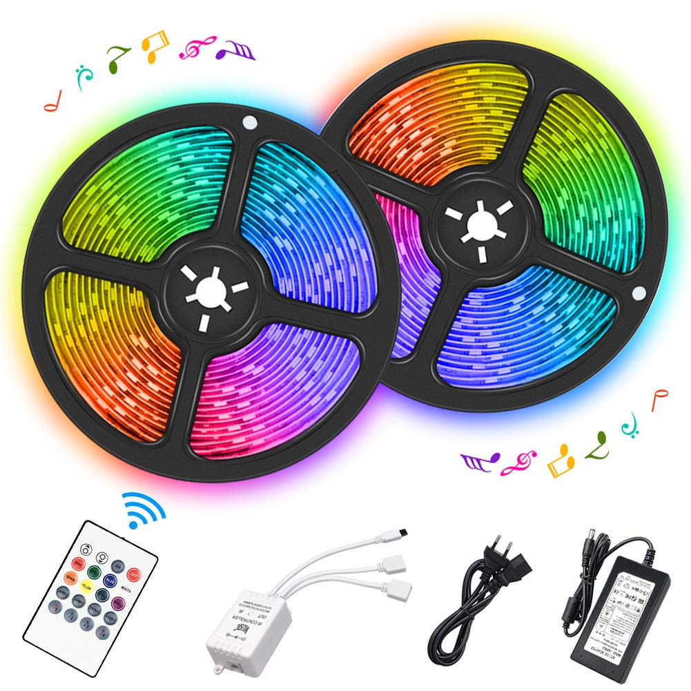 LED Strip Lights, 32.8ft Waterproof RGB Color Changing Light Strip with Remote Controller Sync to Music for Home, Bedroom, Kitchen, Party, Bright 5050 300 LEDs Colored Rope Light Kit (2X5m)