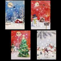 Christmas Canvas Wall Art LED Light Canvas Prints 4x8 Inch Wall Art Pictures Home Decor Desk Christmas Decorations- 4Pack