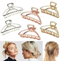 VinBee 6 PACK Large Metal Hair Claw Clips Hair Catch Barrette Jaw Clamp for Women Half Bun Hairpins for Thick Hair (Silver + Gold + Rose Gold)