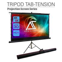 Akia Screens 92 inch Tab Tension Pull Up Projector Screen with Tripod Stand and Bag, 4:3 16:9 8K 4K HD, Black Retractable Projection Screen for Indoor Outdoor Movie Video Home Theater Office AK-PT92UH
