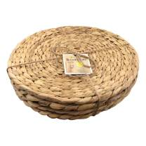 Cork & Leaf Dinner Plate Chargers, Rustic Decorative Round Dinnerware Charger Plates Set of 4, 13-Inch Charger Plates, Christmas, Wedding, Natural Hand Woven Seagrass Placemats for Dining Table