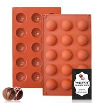 Small 15-Cavity Semi Circular Silicone Mold, 2 Packs Half Sphere Silicone Baking Molds for Making Jelly, Chocolates and Cake