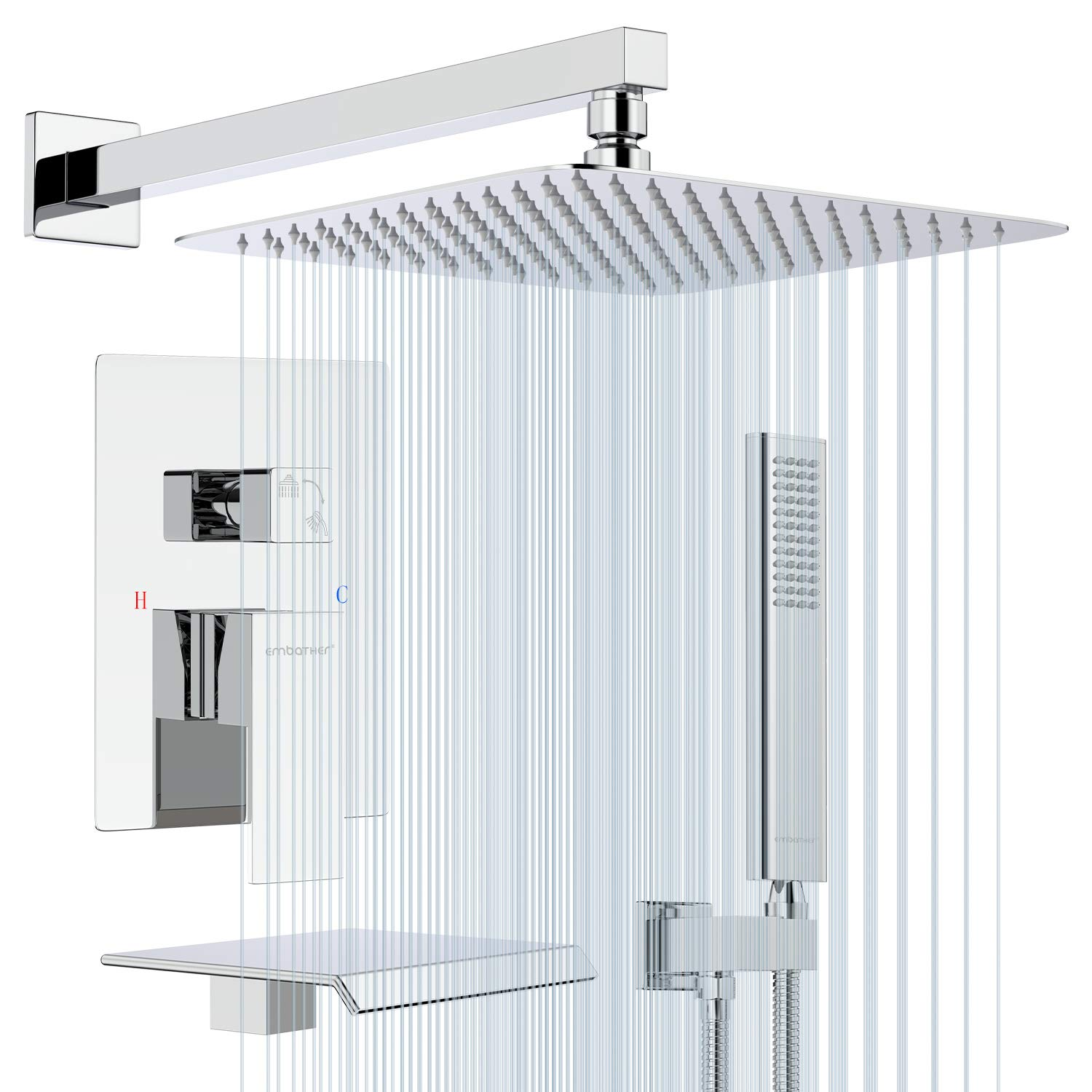 EMBATHER Shower System with Waterfall Tub Spout- 12 Inches Chrome Rain Shower Tub Faucet Set with Square Showerhead and Handhled-Eco-Friendly(Valve included)