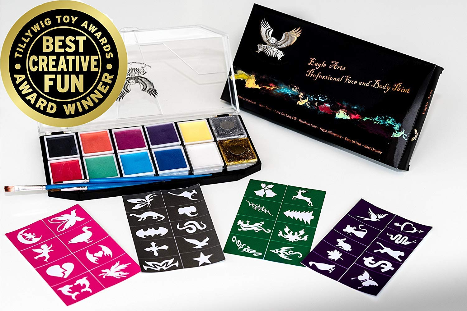 Award Winning Face & Body Paint Professional Palette by Eagle Art   Water Based Paint   Non-Toxic Hypoallergenic   FDA Approved Completely Safe Cosmetic Grade Face painting Kit   Ideal for Kids, Adult