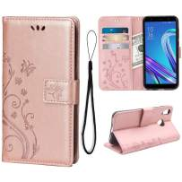 Wallet Case for Asus Zenfone Max (M1) ZB555KL, 3 Card Holder Embossed Butterfly Flower PU Leather Magnetic Flip Cover for Asus Zenfone Max (M1) ZB555KL(Rose Gold)