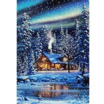 5D Diamond Painting Aurora Snow Cabin in Winter Full Drill by Number, SKRYUIE DIY Rhinestone Pasted Paint with Diamond Set Arts Craft Decorations (12x16inch)