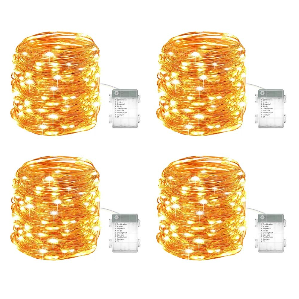 NOVOSTELLA 4 Pack 40ft Starry LED String Lights, 120 LED Waterproof Fairy Lights Copper Wire Christmas Decor Lights Battery Operated 8 Modes for DIY Wedding, Party, Table Decorations, Warm White