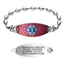 Divoti Custom Engraved Medical Alert Bracelets for Women, Stainless Steel Medical Bracelet, Medical ID Bracelet w/Free Engraving – Blooming Cherry Blossom Tag w/Rice Bead– Color/Size
