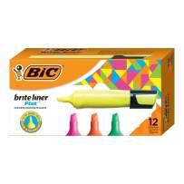 BIC Brite Liner Flat Highlighter, Chisel Tip, Assorted Colors, 12-Count