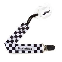 BooginHead Baby Newborn PaciGrip Pacifier Clip, Checkerboard Skater Racing Black/White