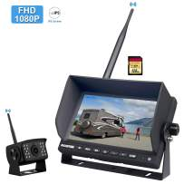 """FHD 1080P Digital Wireless Backup Camera System for RV/Truck/Trailer/Pickup, CAMONS 7"""" HD LED Monitor (2 or 4 Split, Built-in DVR) and 145° AHD IR Night Vision IP69 Waterproof Rear/Front Camera"""