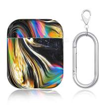 Caka Marble Case for AirPods Case Cover Girly Cute Luxury Black Colorful Marble for Women Girls Carabiner Keychain TPU Shockproof Protective Case Cover for AirPods 2 and 1 (Black Gold)