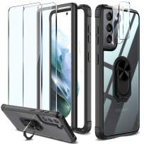 KKM Rotating Ring Stand Designed for Samsung Galaxy S21 Plus 6.7-inch Case & 2 Pcs [Tempered Glass Screen Protector + Camera Lens Protector] Support Fingerprint Unlock, Full Protection Cover - Black