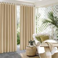 RYB HOME Detachable Top Outdoor Curtains 120 inches Long, Waterproof Blackout Privacy Screen for Patio Sliding Glass Door Corridor Pavilion Cabana Sunroom, W 52 x L 120, 1 Pair, Beige