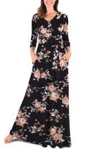 Comila Women's Maxi Dresses V-Neck 3/4 Sleeve Floral Long Dresses with Pockets