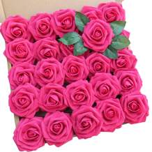 Artificial Flowers 25pcs Rose Red Real Looking Foam Rose Fake Flowers with Stem/Leaves for DIY Wedding Bouquets Centerpieces Floral Arrangments Home Party Decorations (25 PCS, Rose Red)