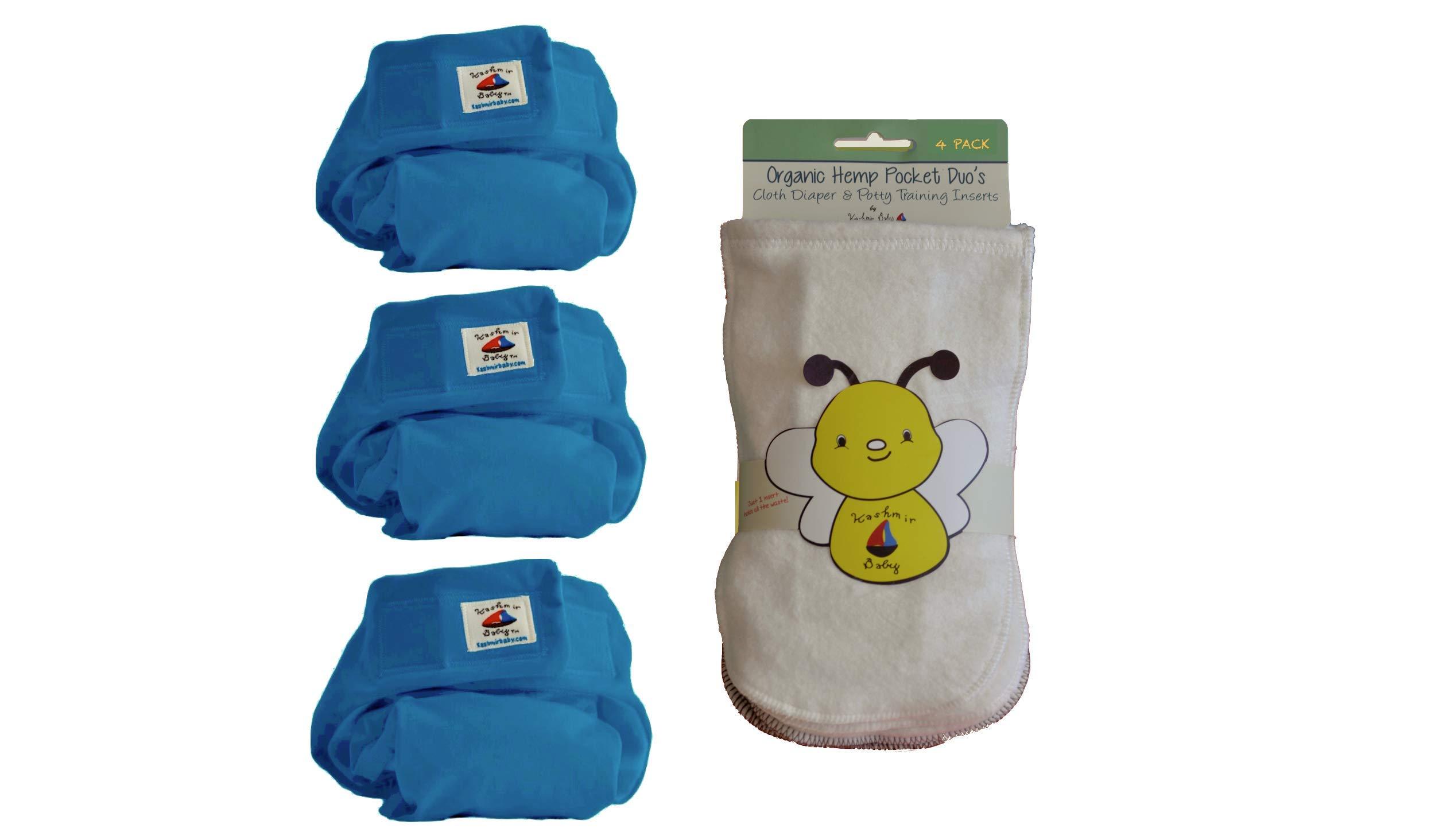 Eco Plush 3 Hemp/Organic One Size Diapers, 4 Hemp Inserts (Little Bug)