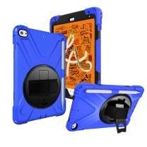iPad Mini 5th Gen Case, KIQ Shockproof Heavy Duty Case Screen Protector Cover Palmstrap Kickstand Shoulder Strap Sling for Apple iPad Mini 4th 2014 5th 2019 Gen (Shield Blue)
