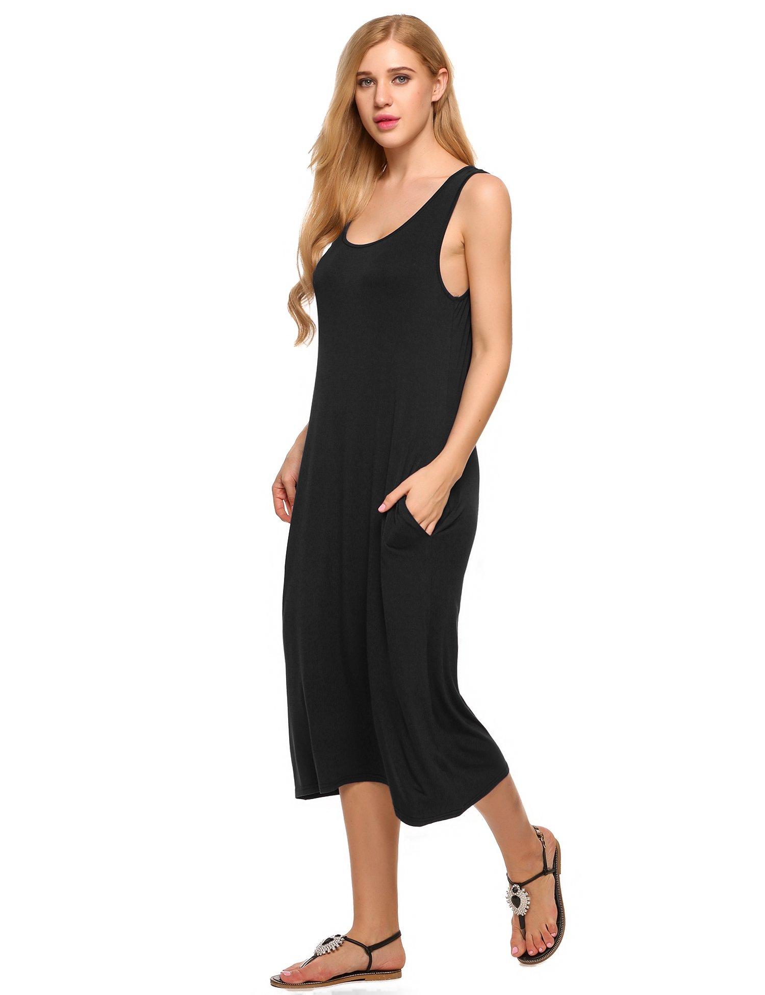 Wildtrest Women's Sleeveless Long Nightgown Scoop Neck Sleep Dress Casual Sleepwear with Pocket
