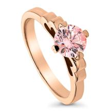 BERRICLE Rose Gold Plated Sterling Silver Solitaire Promise Engagement Ring Made with Swarovski Zirconia Morganite Color Round 1 CTW
