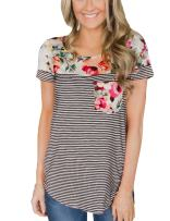 Walant Womens Floral Print Short Sleeve T-Shirt Stripe Casual Tops