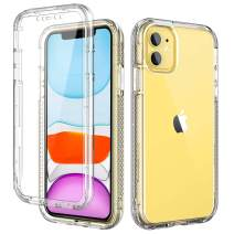 SKYLMW iPhone 11 Case,[Built in Screen Protector] Full Body Shockproof Dual Layer High Impact Protective Hard Plastic & Soft TPU with Lanyard Hole for Phone Cover for iPhone 11 6.1 inch,Crystal Clear