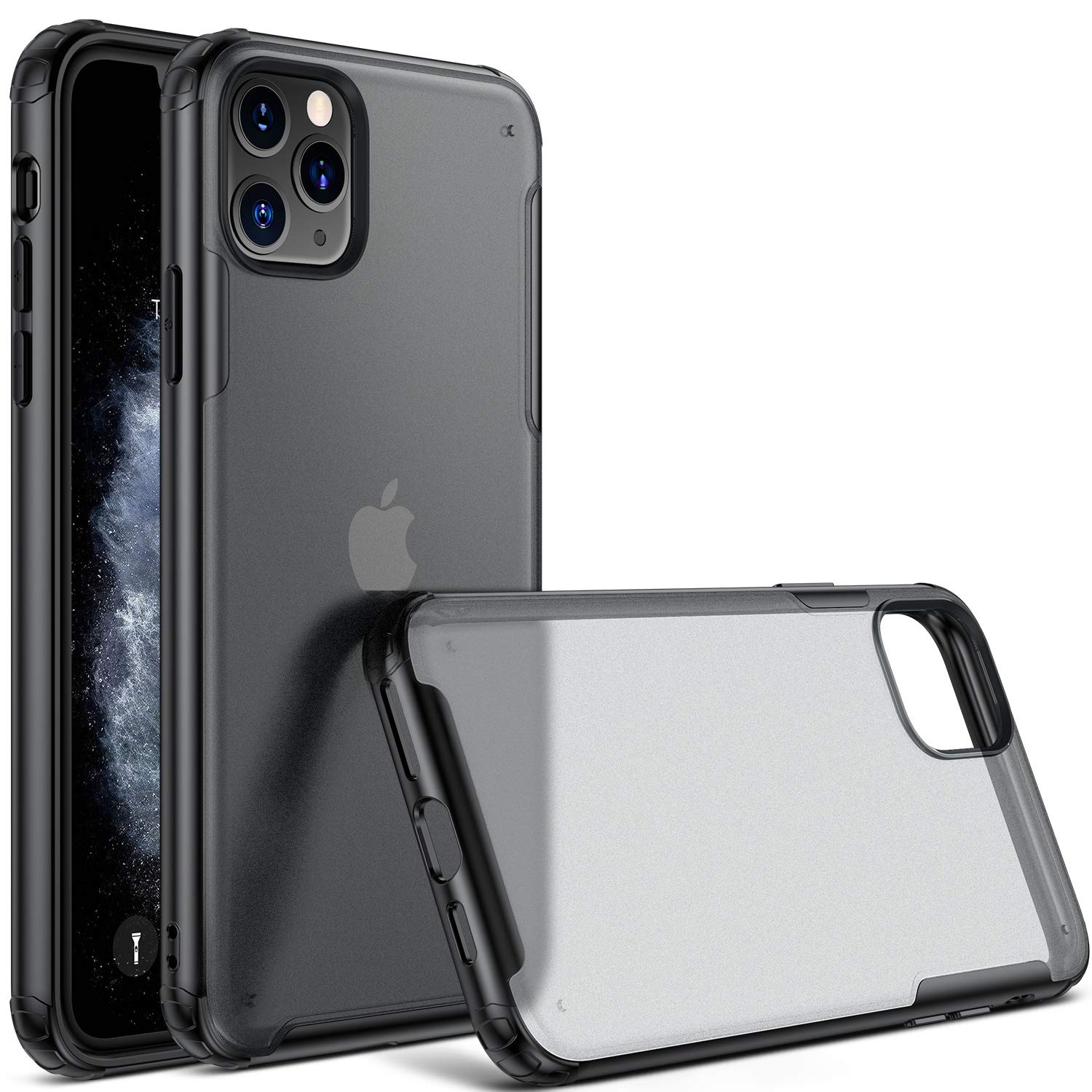 CASEKOO iPhone 11 Pro Max Case, Protective Matte Clear Heavy Duty Slim Case with Hard Back Thin Case for iPhone 11 Pro Max 6.5 inch 2019- Black