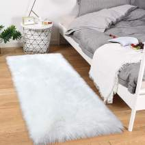 Noahas Luxury Fluffy Rugs Bedroom Furry Carpet Bedside Sheepskin Area Rugs Children Play Princess Room Decor Rug, 2ft x 4ft White