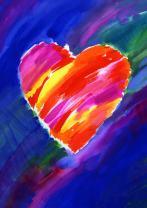 Toland Home Garden Heart in Blue 12.5 x 18 Inch Decorative Colorful Watercolor Valentine Garden Flag