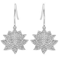 Dazzlingrock Collection 0.27 Carat (ctw) 14K Round White Diamond Ladies Cluster Flower Dangling Drop Earrings 1/4 CT, White Gold