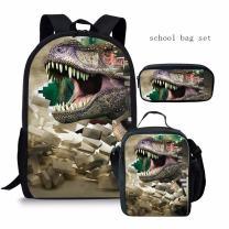 Dinosaur School Bag Set for Boys Girls Backpack and Lunch Bag Pencil Holder