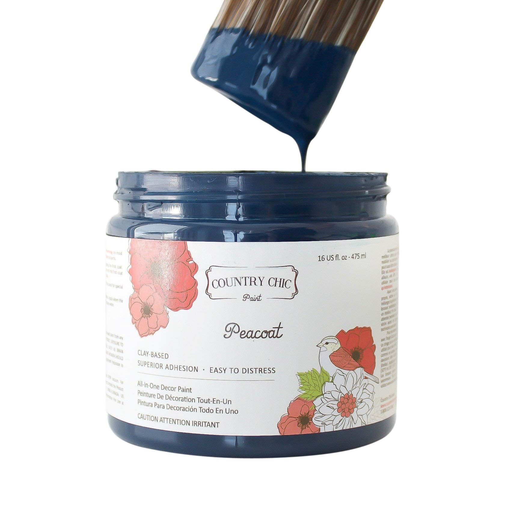 Chalk Style Paint - for Furniture, Home Decor, Crafts - Eco-Friendly - All-in-One - No Wax Needed (Peacoat [Navy Blue], Quart (32 oz))
