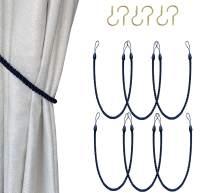 Melanovo Curtain Tiebacks with Hooks, Hand Knitting Rope Tie Backs, Decorative Drapery Holdbacks (Navy,6Pack)