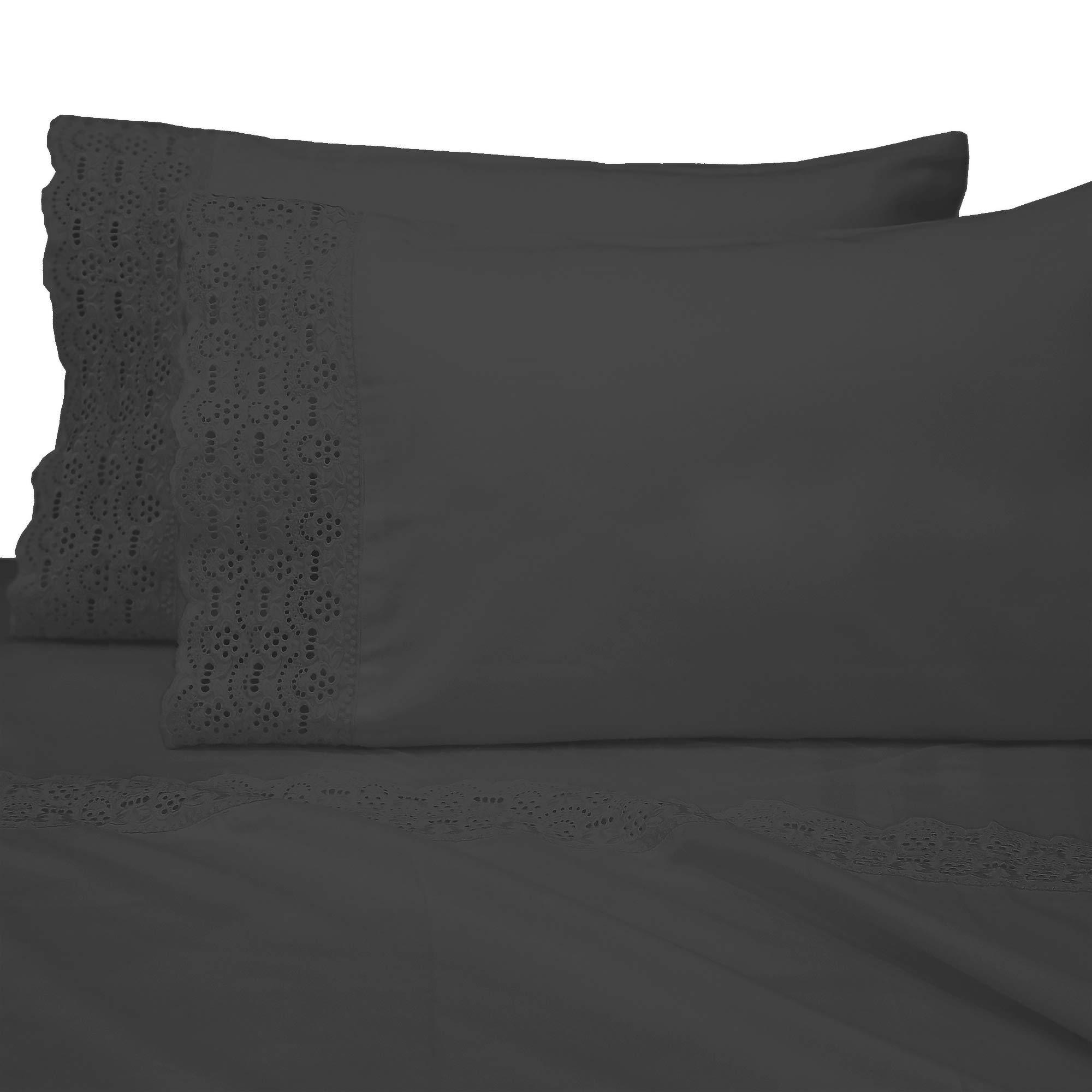 "AURAA Smart 600 Thread Count Cotton Rich, 4 Piece Sheet Set, 16"" Deep Pocket, Victoria LACE Hem, Smooth & Soft Sateen Weave, Hotel Quality (Victoria Charcoal, Split King)"