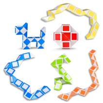 Ganowo Magic Snake Cube Mini 6 Pack Twist Puzzle Collection Brain Teaser Toy Snake Ruler Fidget Toys Sets for Kids Easter Basket Stuffers Party Favors Goodie Bags Fillers Game Geometric