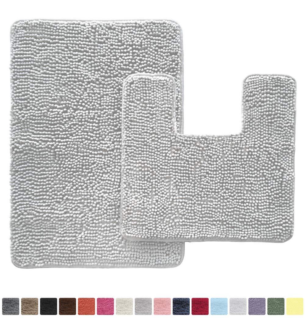 Gorilla Grip Original Shaggy Chenille 2 Piece Area Rug Set, Includes Square U-Shape Contour Toilet Mat & 30x20 Bathroom Rugs, Machine Wash/Dry Mats, Plush Rugs for Tub Shower & Bath Room, Light Gray