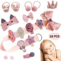 18pcs Toddler Girl Hair Accessories for Girls Infant Hair Clips Baby Elastic Ties Bows Claw Clip Little Girl Gift Box