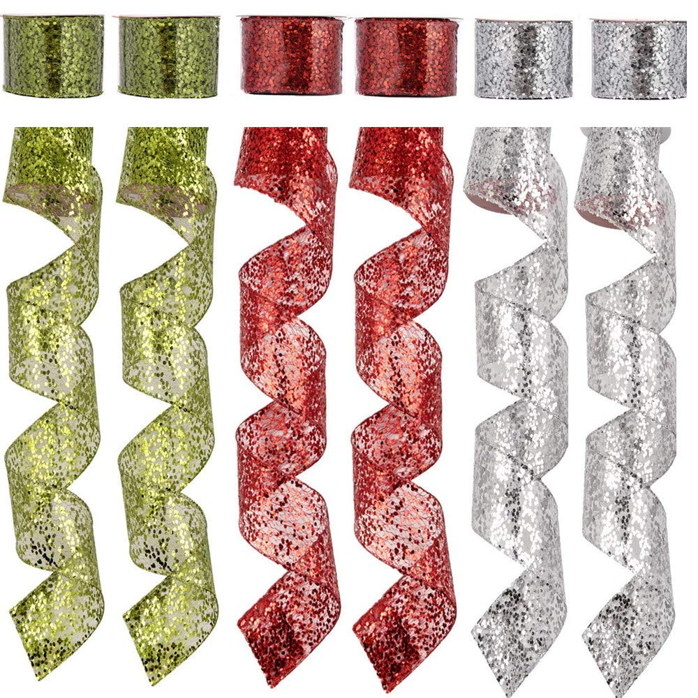 """SANNO 2.5"""" 36 Yards Christmas Wired Ribbon,Holiday Sheer Sparkly Organza Wrapping Ribbon Wreath Bows Trims Party Xmas Decorations DIY Craft Swirl Ribbons Door Ornament Silver Red Green"""