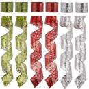 "SANNO 2.5"" 36 Yards Christmas Wired Ribbon,Holiday Sheer Sparkly Organza Wrapping Ribbon Wreath Bows Trims Party Xmas Decorations DIY Craft Swirl Ribbons Door Ornament Silver Red Green"