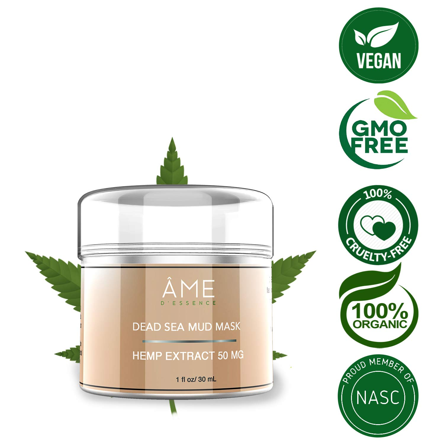 (50mg) Organic Face Mask Dead Sea Mud & Pure Hemp Oil w/Vulcanus Kaolin Natural Moisturizing Mineral Cleanser Treatment Reduce Beauty Products Made in the USA