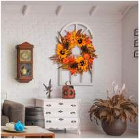 Glitzhome Artificial Sunflower Wreath Summer Fall Wreaths for Front Door Indoor Wall Decor Decorative Sunflower Garland with Pumpkins and Pine Cones on Wooden Door-Shape Frame
